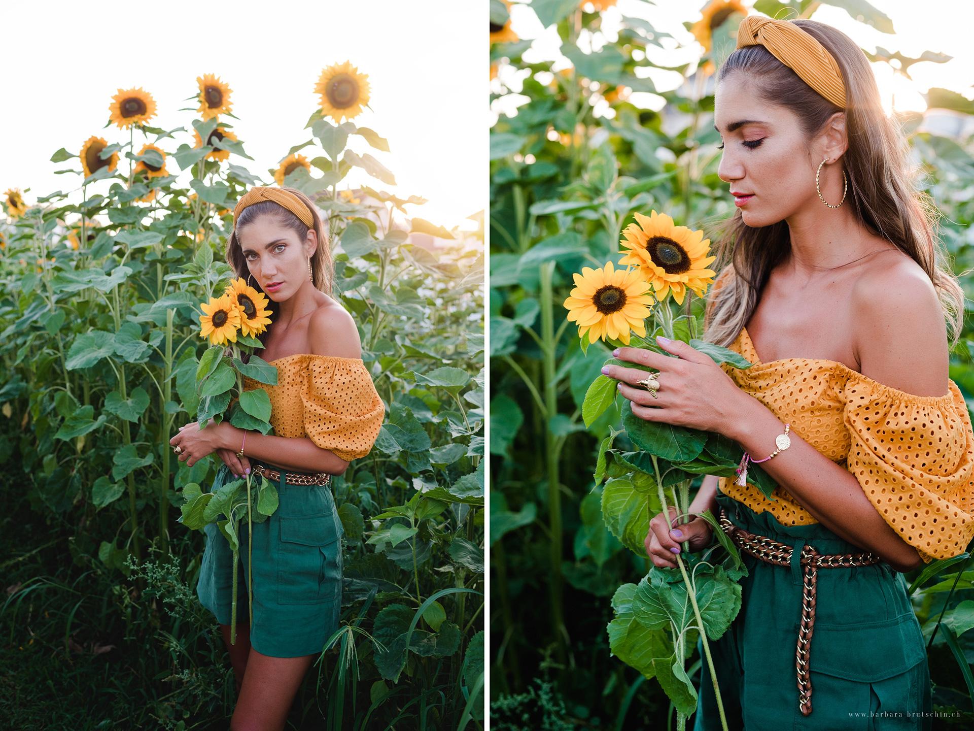 Sonnenblumen Outdoorshooting in der Abendsonne